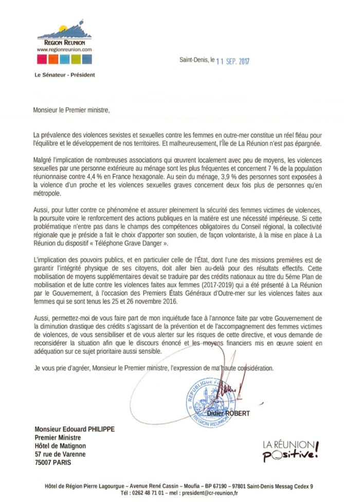 Violences sexistes et sexuelles contre les femmes en outre-mer, Didier Robert alerte le premier Ministre