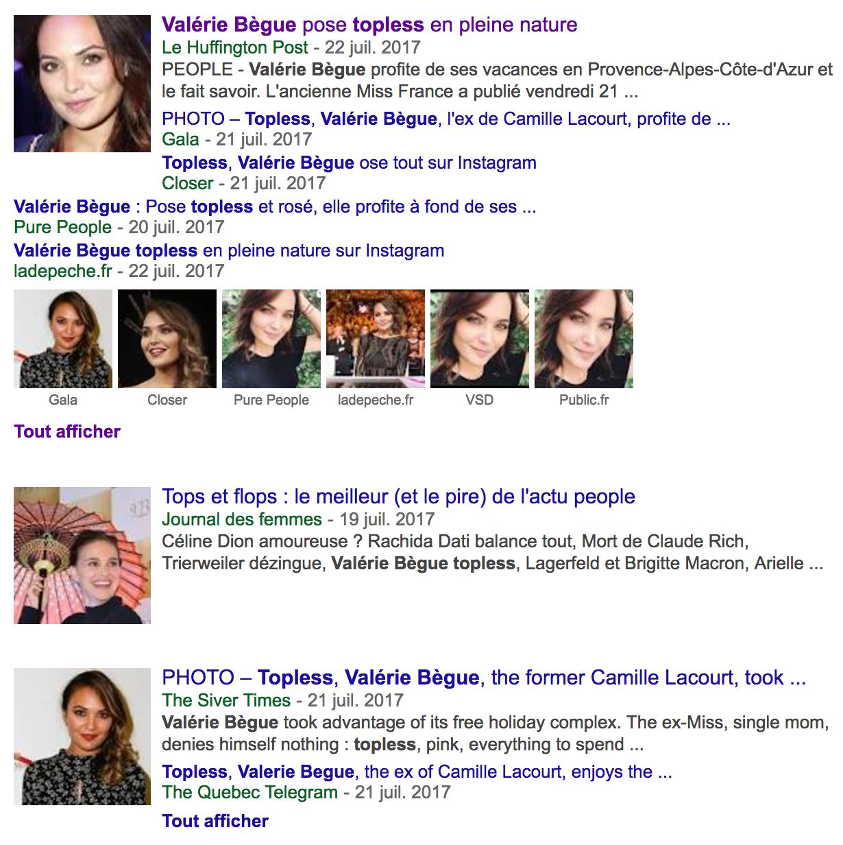 Valérie Bègue TopLess, elle affole la presse